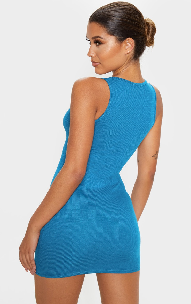 Petrol Blue Ribbed Scoop Bodycon Dress 2