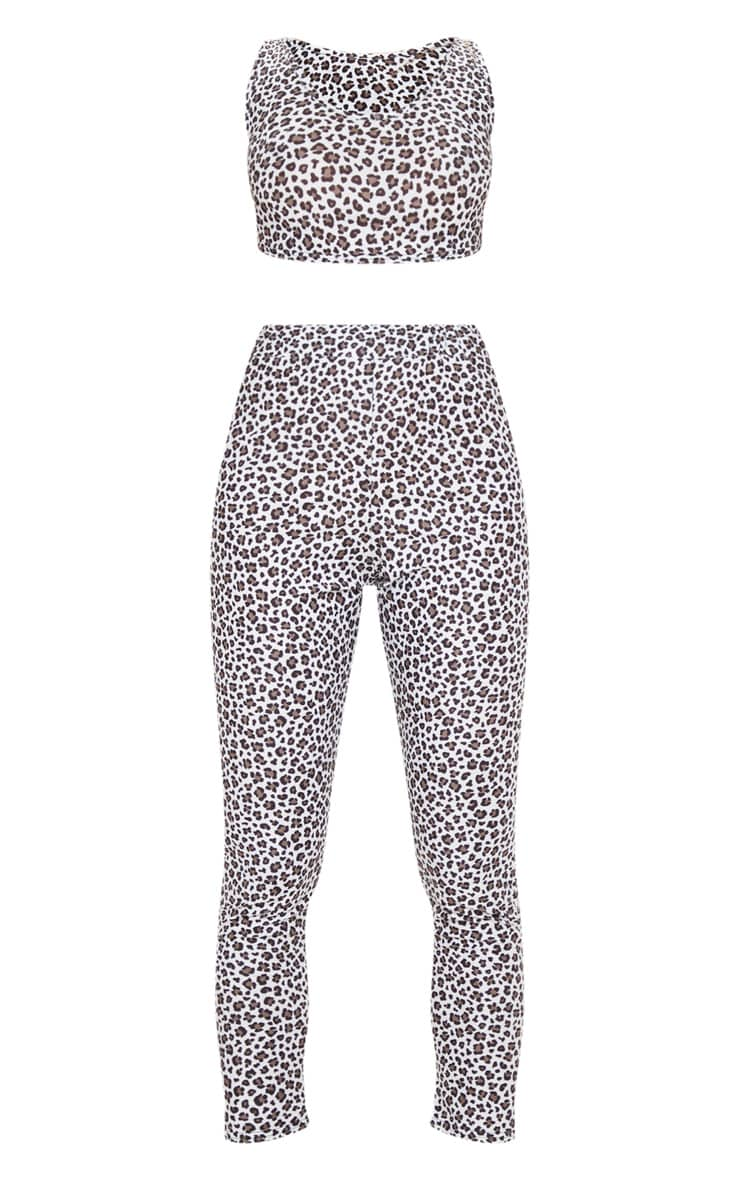 White Leopard Print Bralet And Legging PJ Set 3
