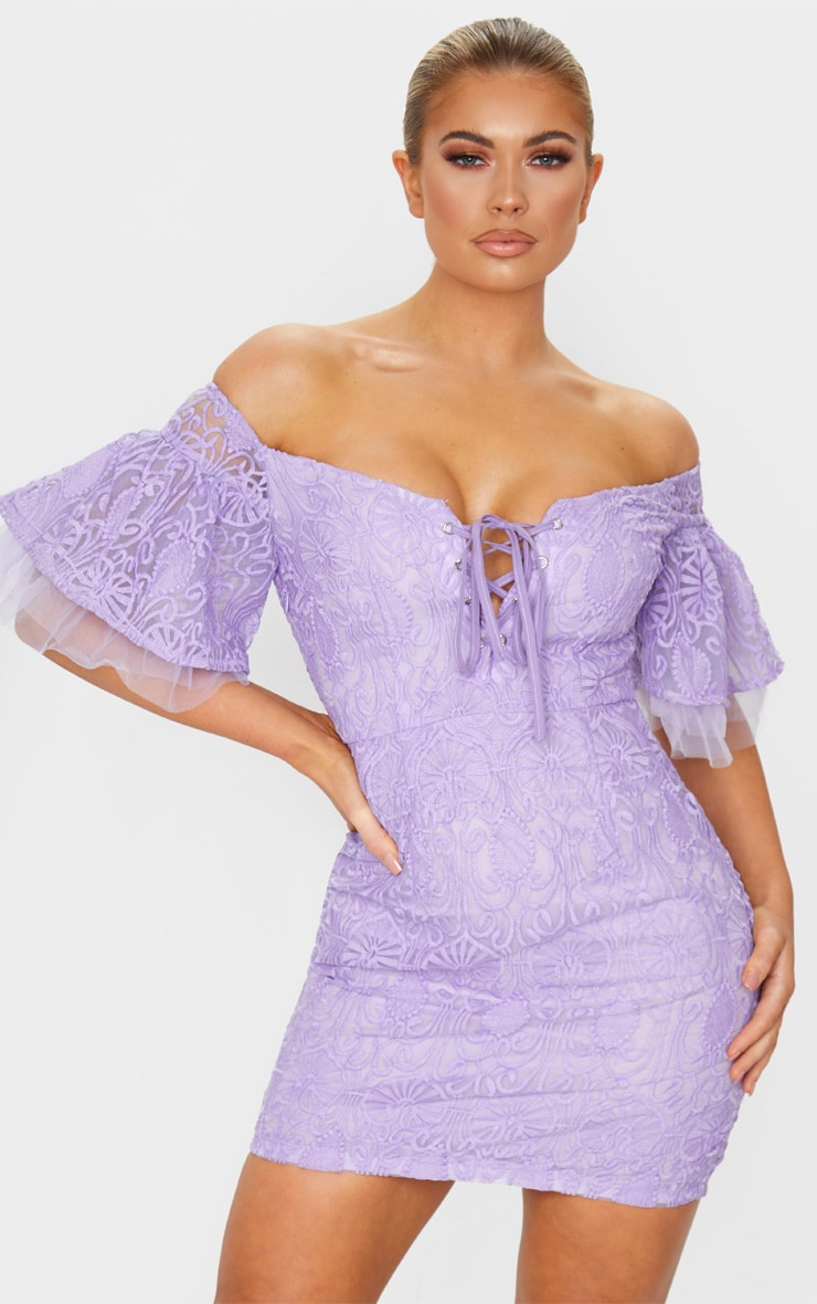 Lilac Embroidered Frill Sleeve Lace Up Bodycon Dress 1
