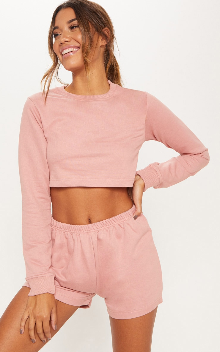 Rose Cropped Sweat PJ Set 1