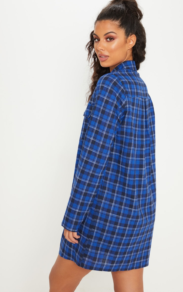 Blue Oversized Check Shirt Dress 2