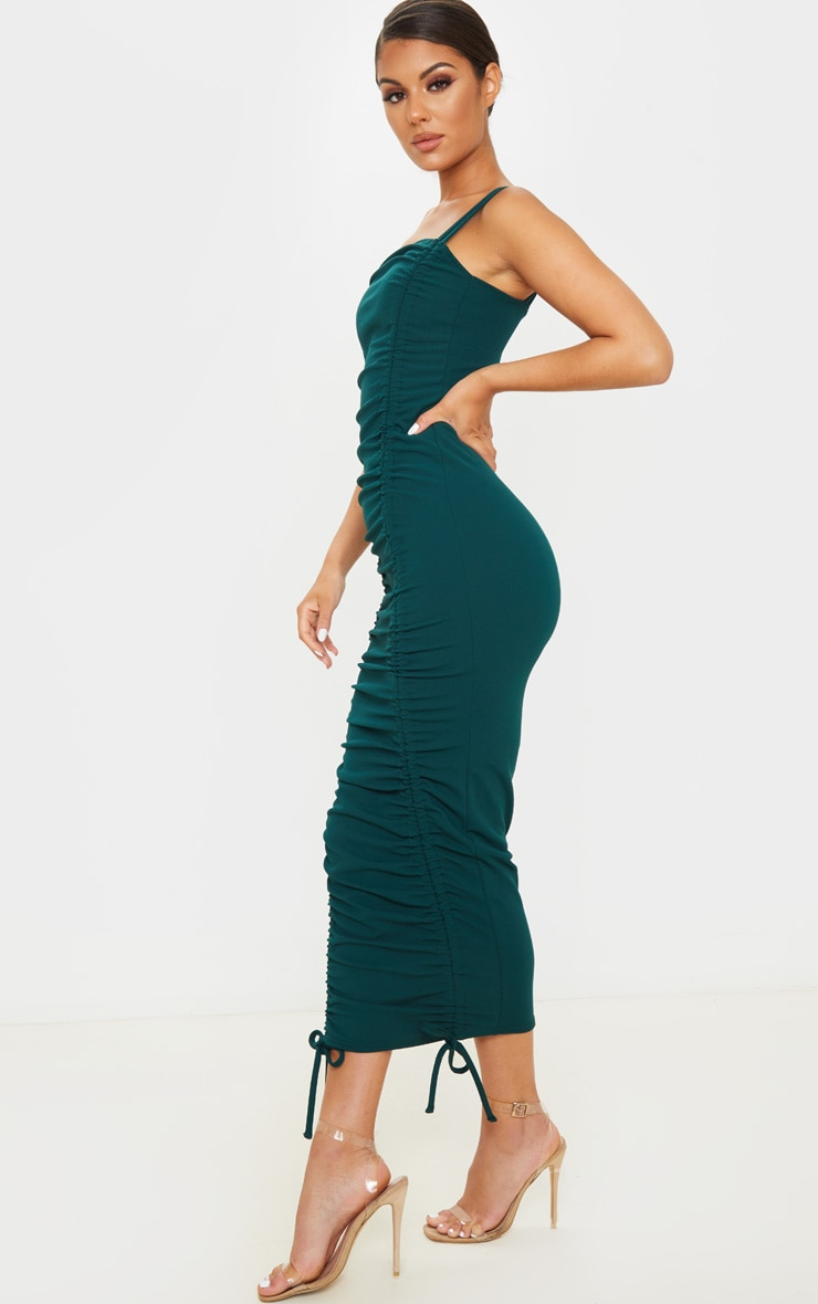 Emerald Green Strappy Ruched Midi Dress 4