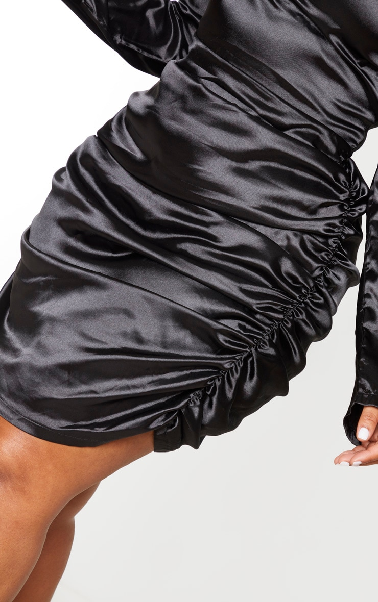 Plus Black Satin High Neck Ruched Skirt Bodycon Dress 4