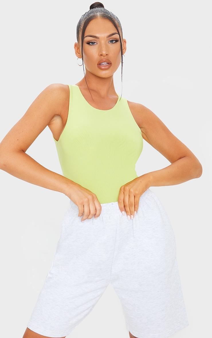 Lime Slinky Racer Sleeveless Bodysuit 1