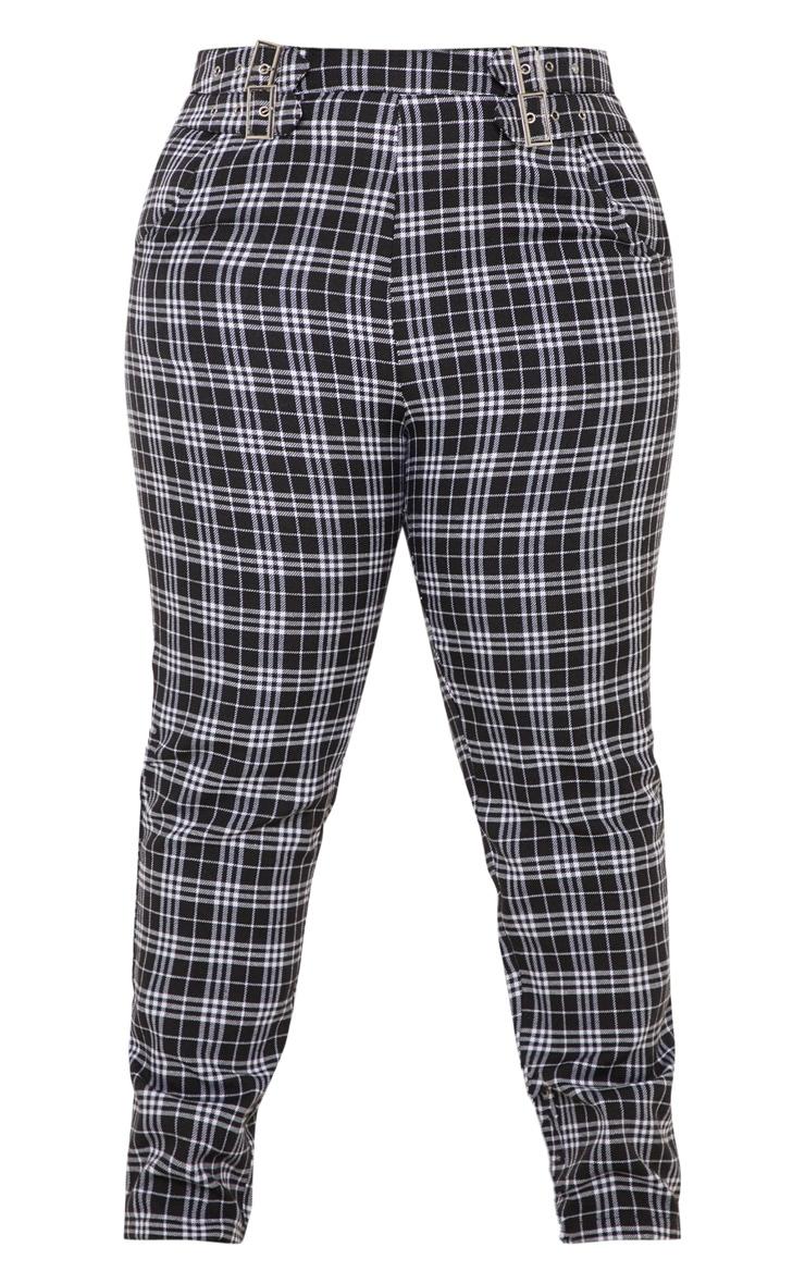 PLT Plus - Pantalon skinny à carreaux noirs et détail boucles 3