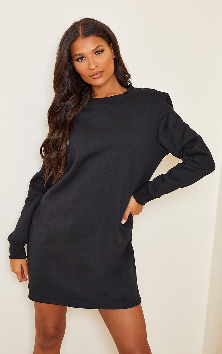 Black Shoulder Pad Detail Jumper Dress 1