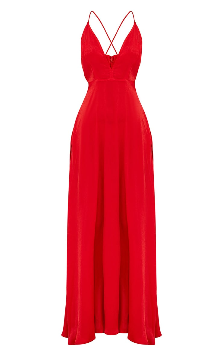 Red Extreme Split Strappy Back Maxi Dress 3