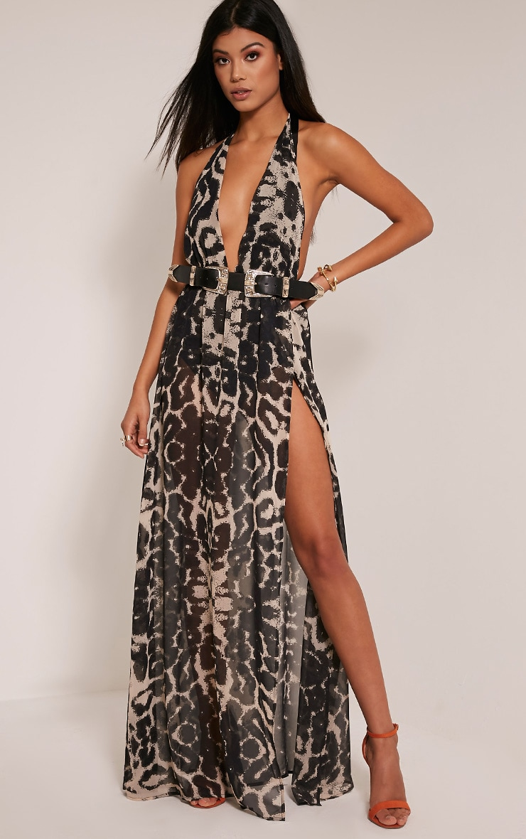 Alina robe maxi taupe décolleté plongeant imprimé léopard 3