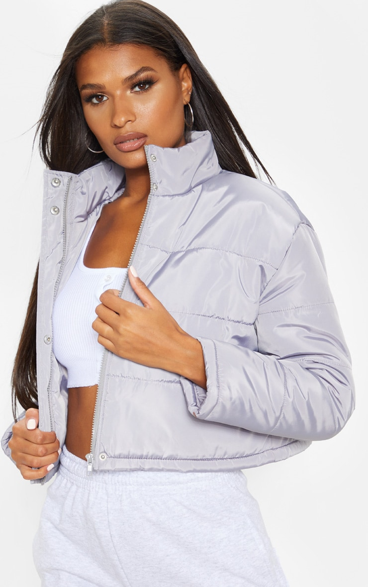 Grey Super Cropped Puffer 1