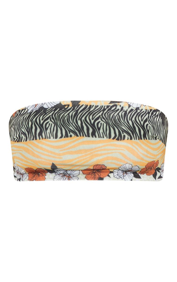 Orange Striped Floral Bandeau Bikini Top 1