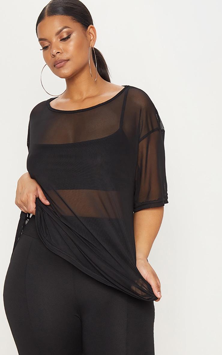 PLT Plus - Tee-shirt noir oversized en mesh 1