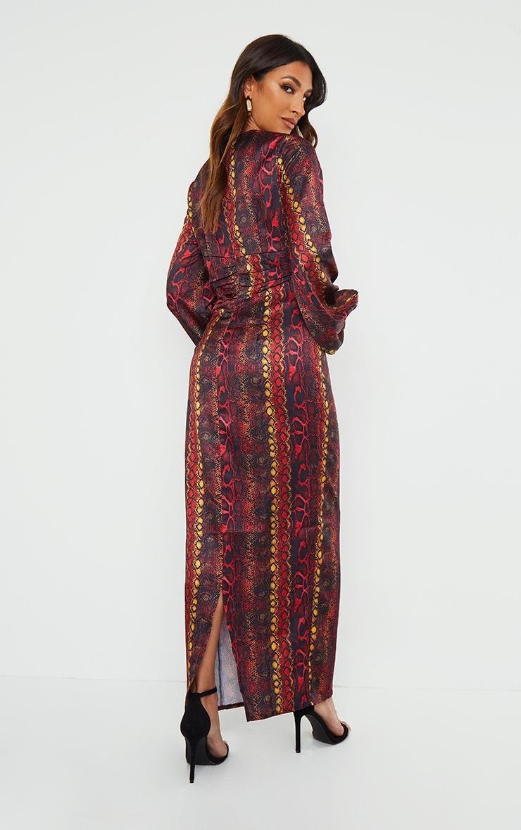 Multi Printed Satin Ruched Waist Balloon Sleeve Maxi Dress 2