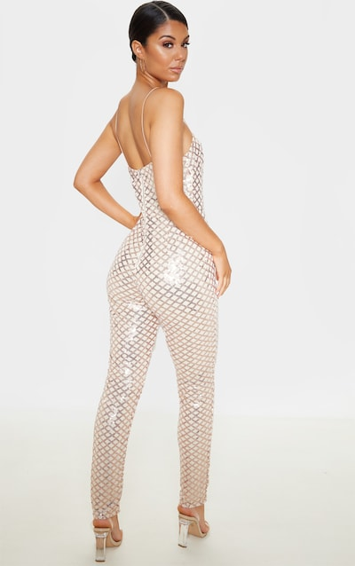 Rose Gold Strappy Sequin Slim Leg Jumpsuit