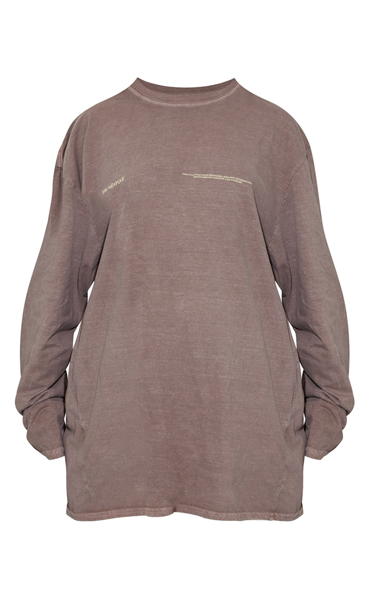 PRETTYLITTLETHING Chocolate International Long Sleeve T Shirt 5