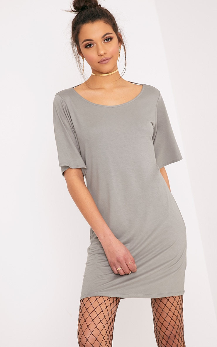 Siar Light Khaki Jersey T Bar T Shirt Dress 2
