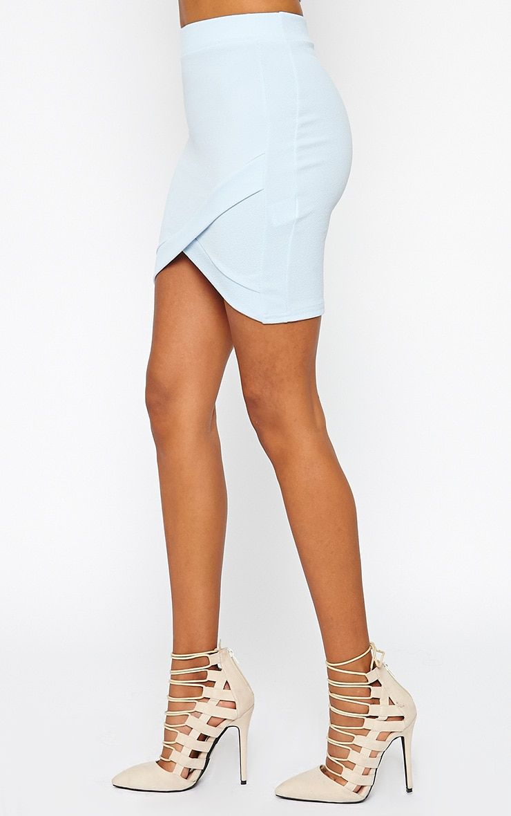 Gabriella Powder Blue Asymmetric Mini Skirt 3