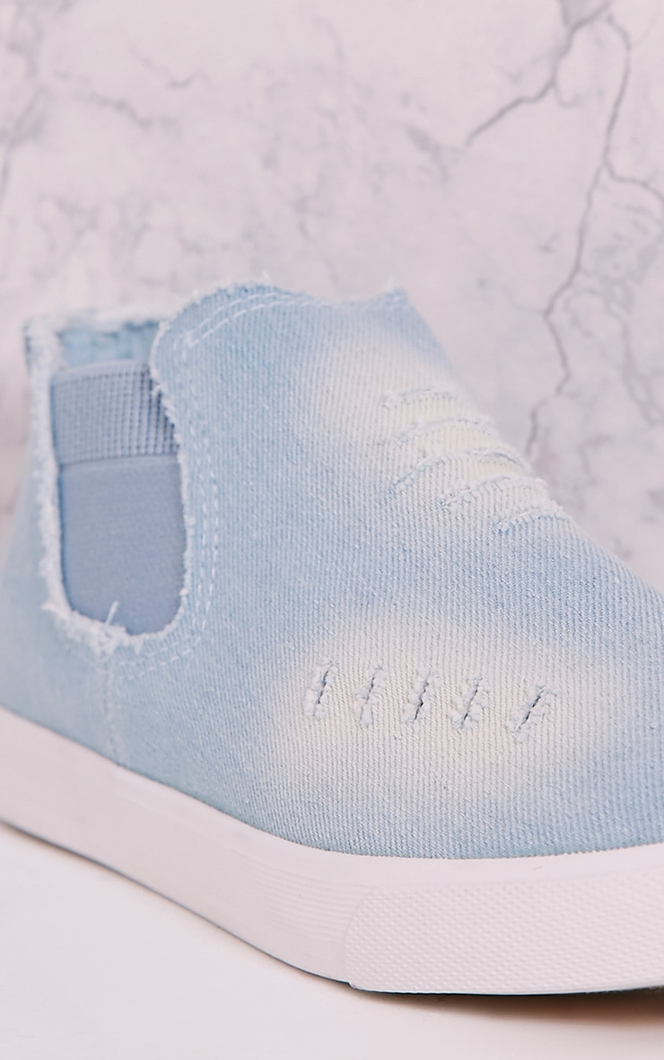 Gia Light Blue Wash Ripped Denim Slip on Trainers 5