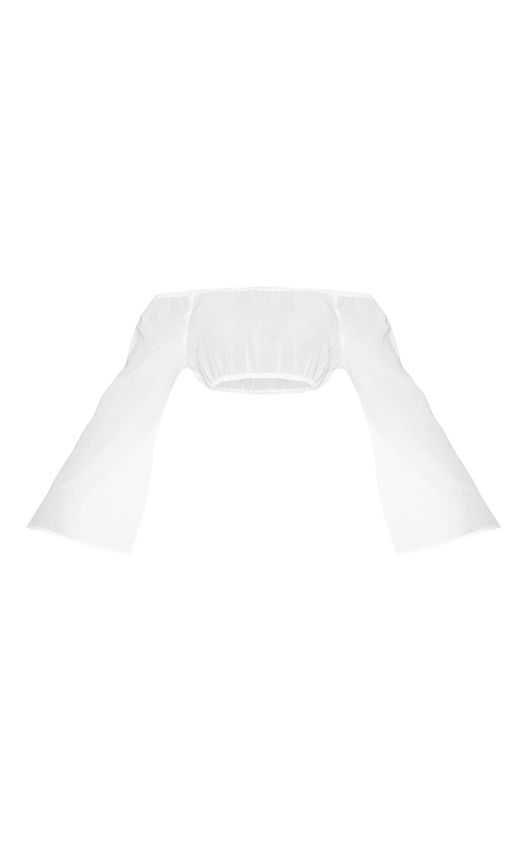 White Off The Shoulder Flare Sleeve Beach Top 5