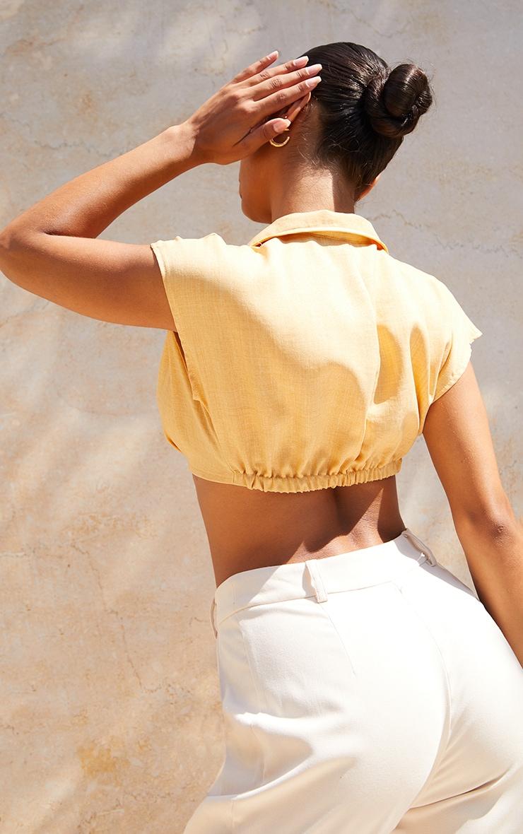 Stone Linen Look Crop Plunge Shirt 2