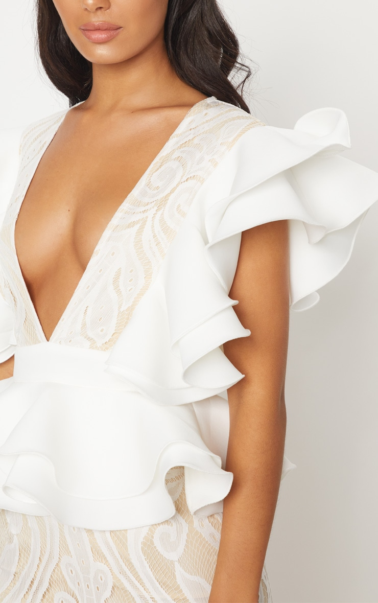 White Ruffle Detail Plunge Midi Dress 4