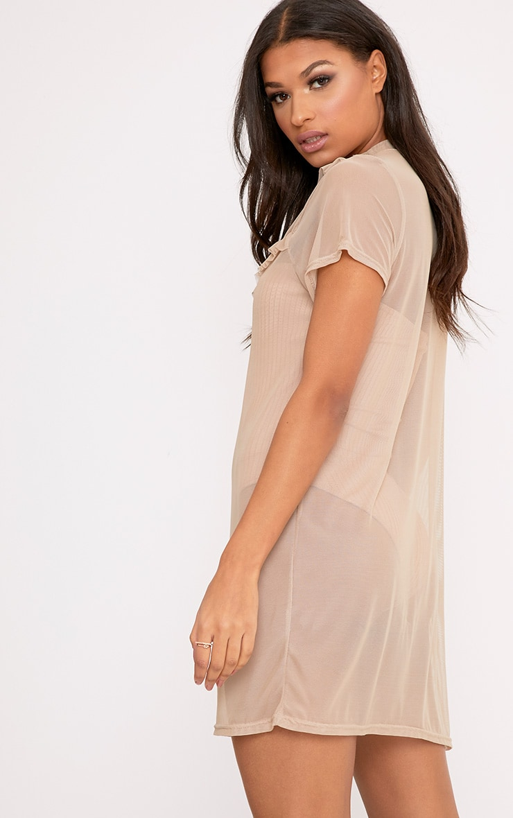 Betty Nude Mesh Frill T Shirt Dress 2