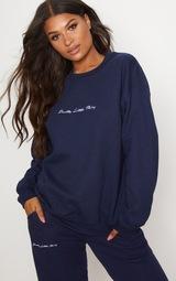 PRETTYLITTLETHING Navy Embroidered Sweatshirt 1