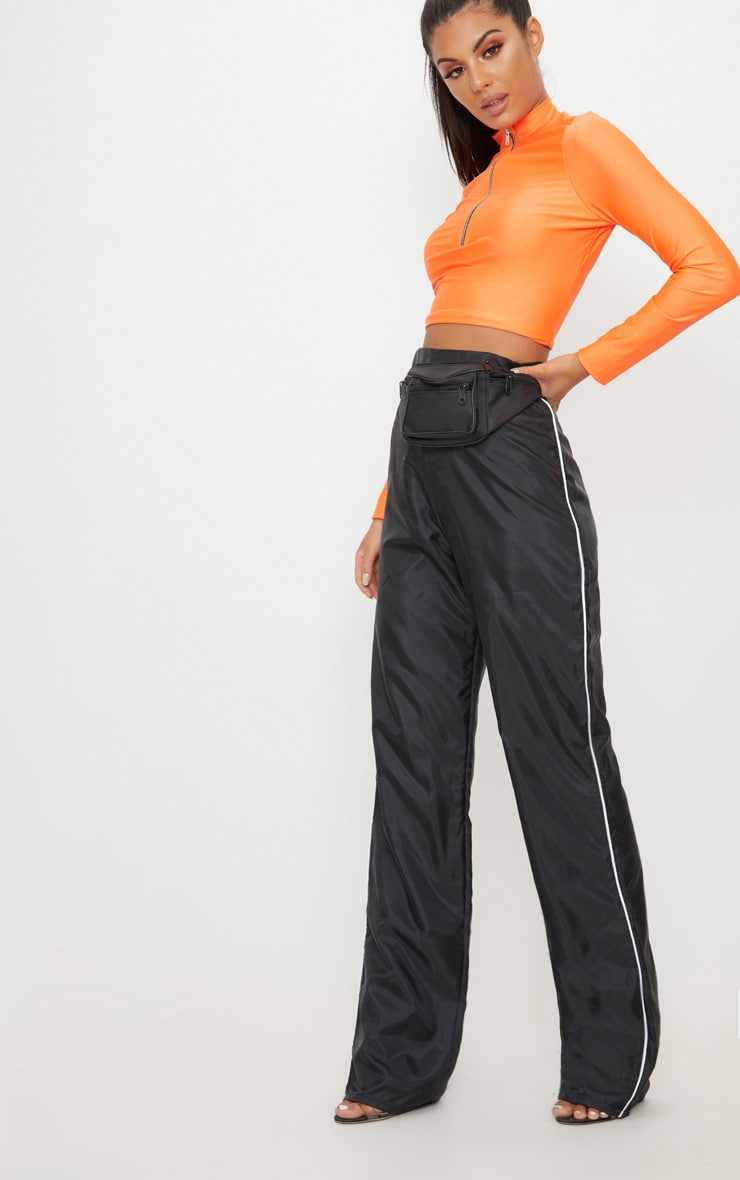 Black Contrast Binding Shell Trouser  1
