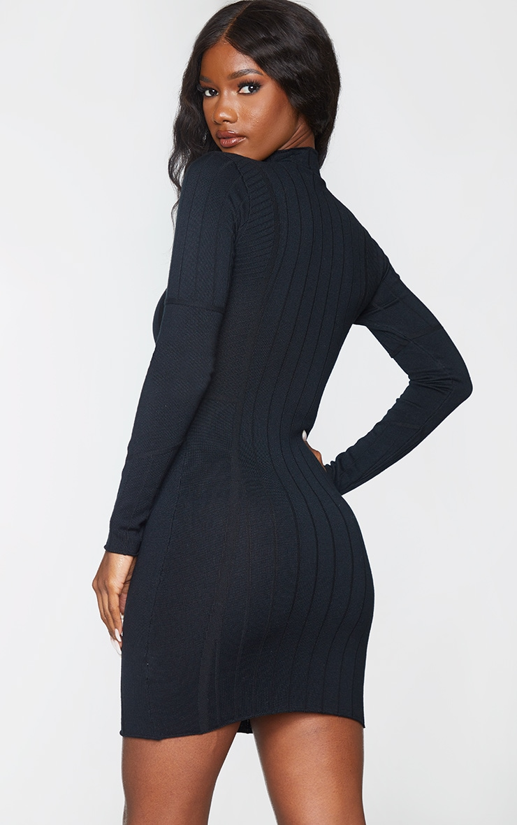 Black Ribbed Zipped Knitted Mini Dress 2