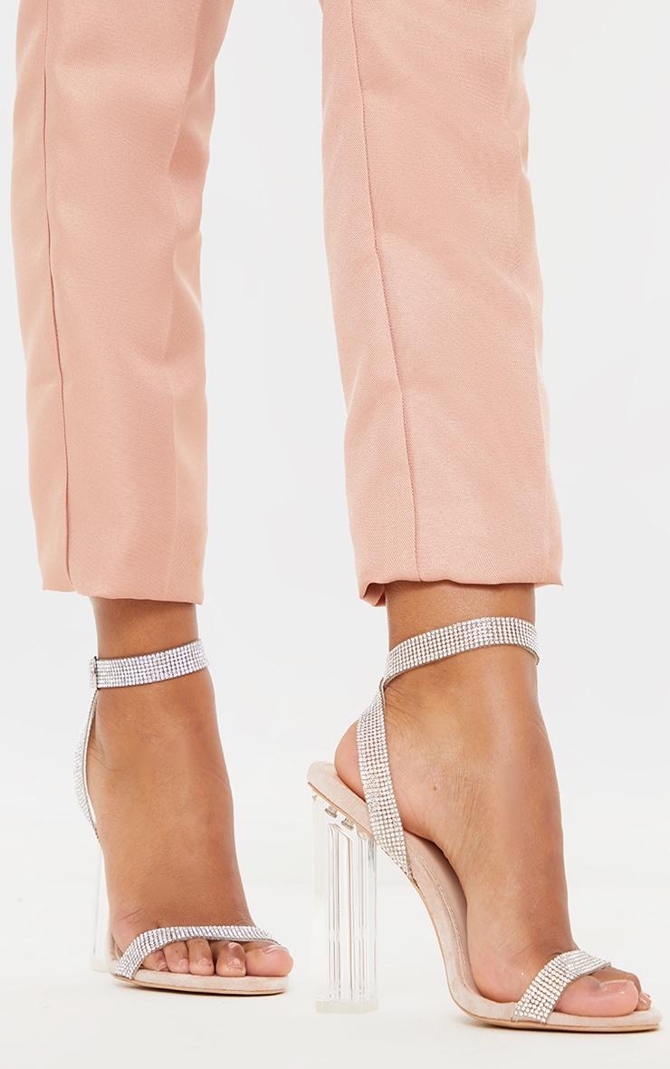 Nude Clear Block Heel Diamante Strap Sandal 1