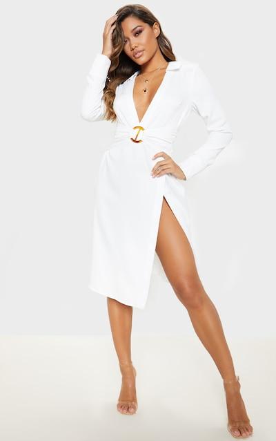 White Hammered Satin Belted Midi Shirt Dress