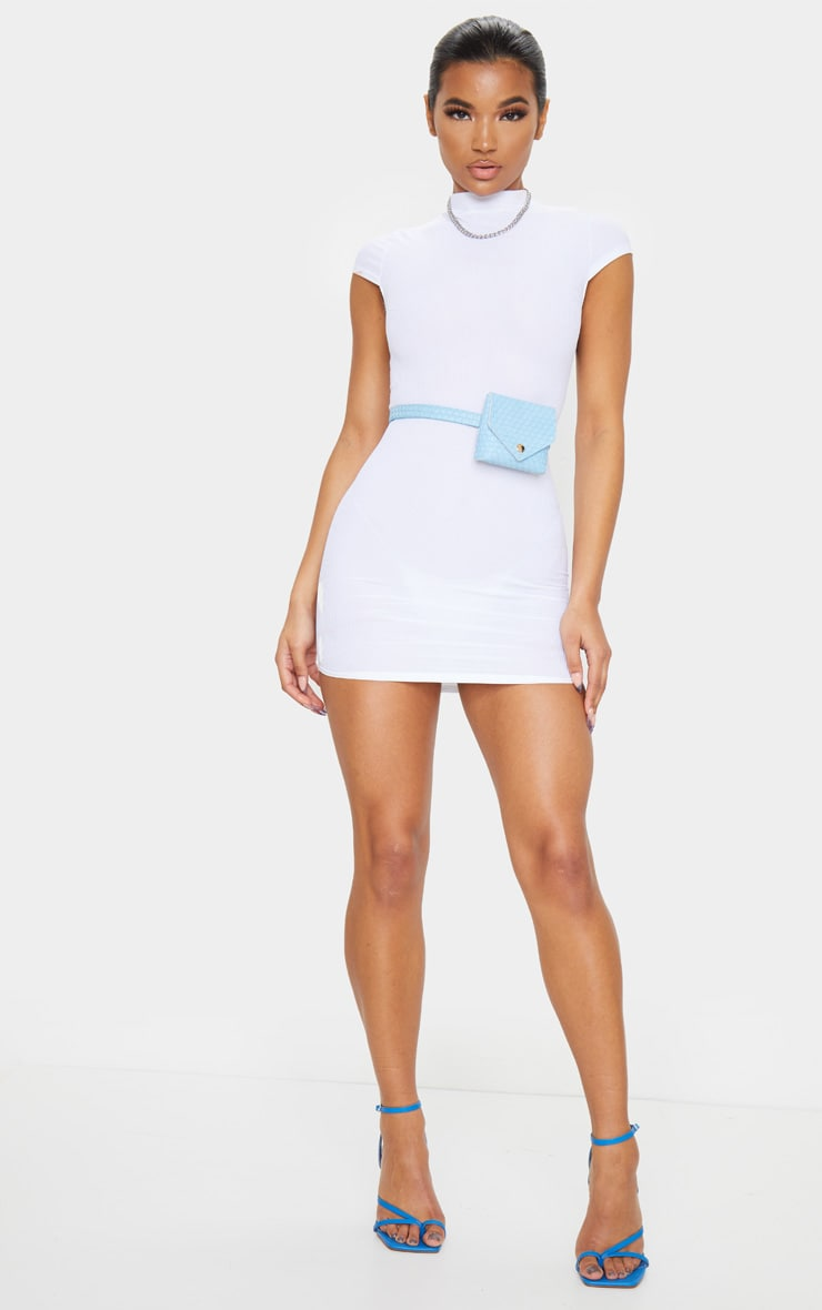 White High Neck Ribbed Bodycon Dress 3