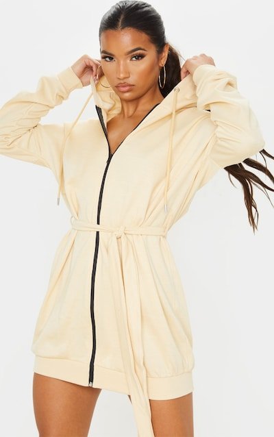 Stone Belted Hoodie Dress
