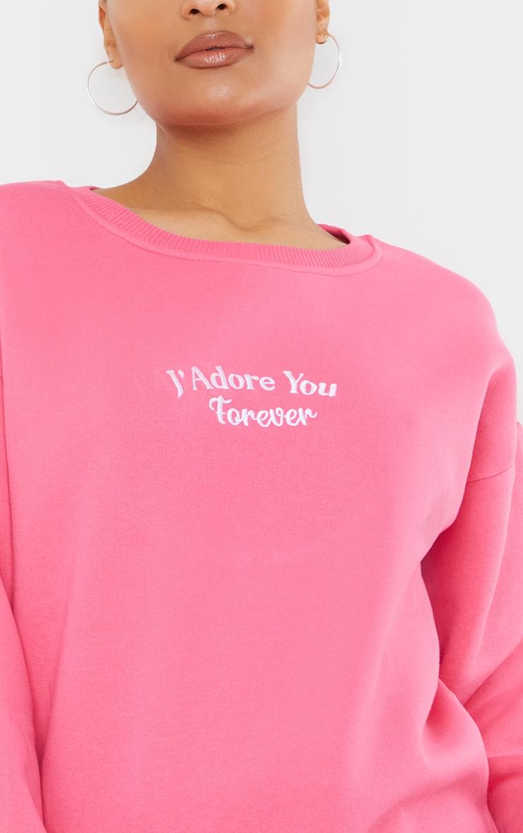 Hot Pink J'Adore You Slogan Embroidered Sweatshirt 4