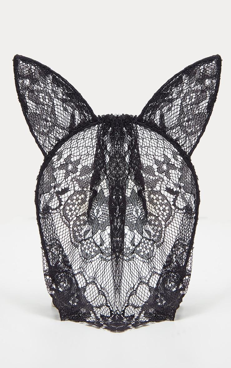 Black Cat Ears Lace Veil Headband 2