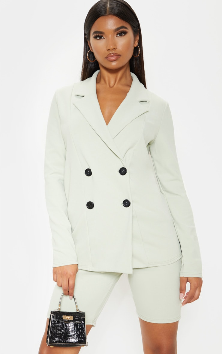 Sage Double Breasted Button Suit Jacket  1