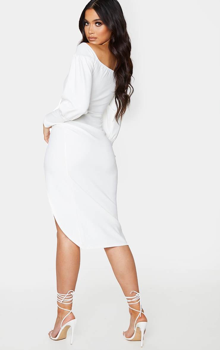 White Bardot Corset Wrap Detail Midi Dress 2