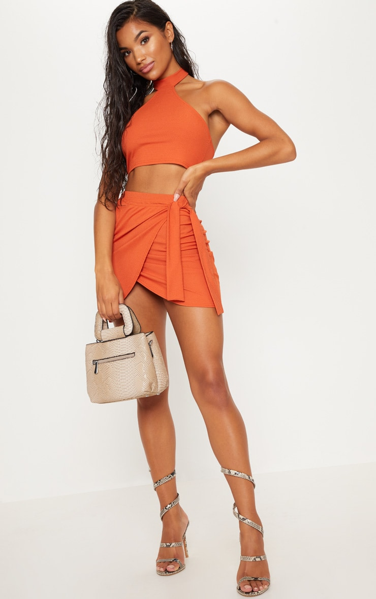 Burnt Orange Rib Halterneck Crop Top 4
