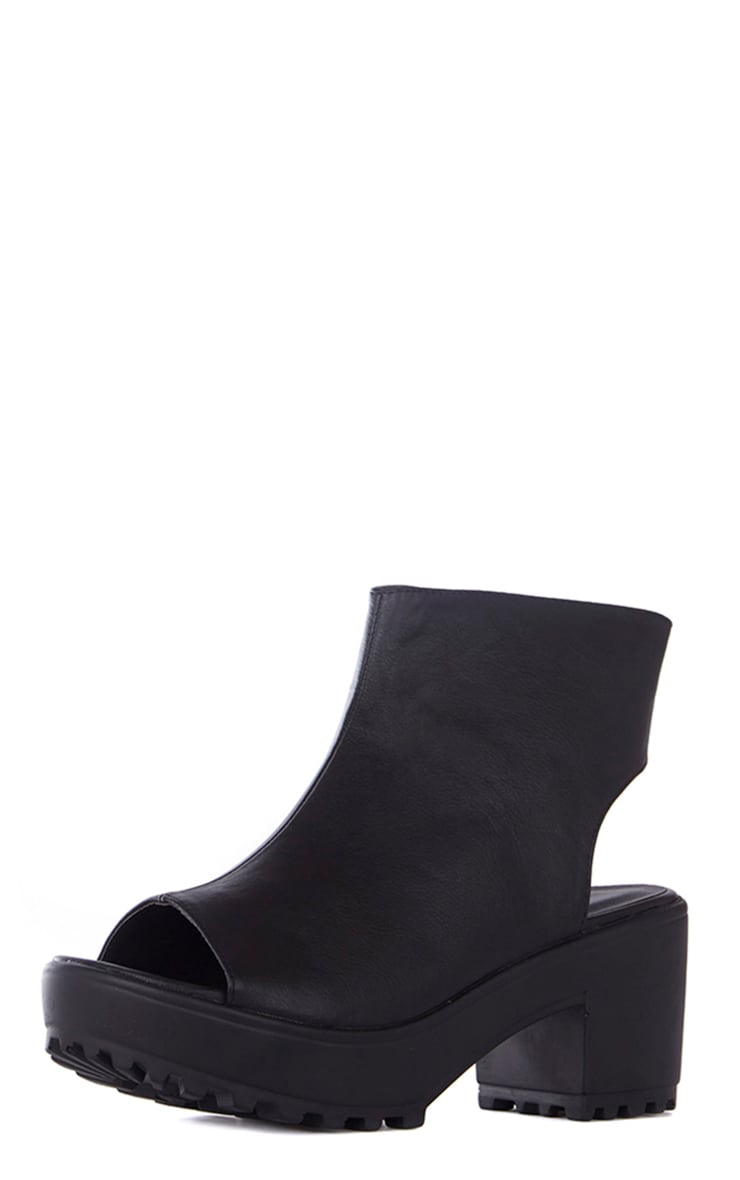 Amity Black Faux Leather Peep Toe Ankle Boots 2