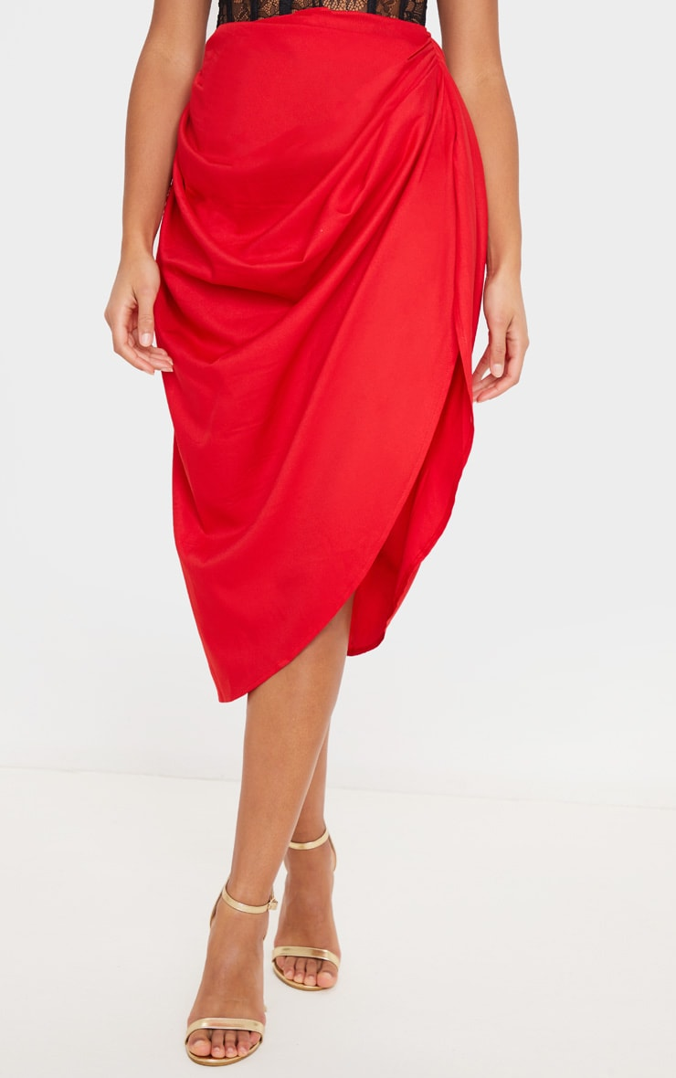Red Ruched Side Midi Skirt 2
