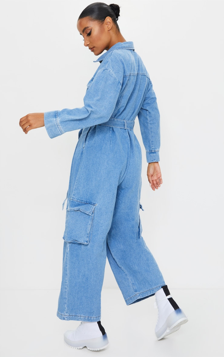 Mid Wash Oversized Cropped Denim Boilersuit 2
