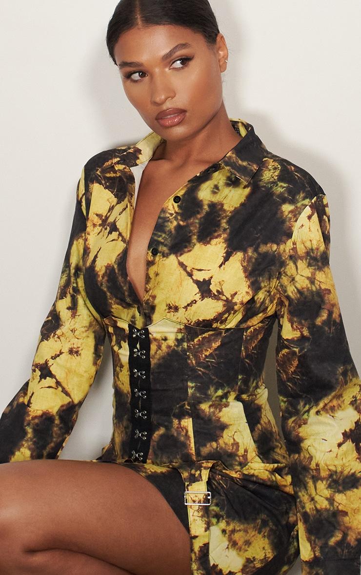 Yellow Tie Dye Hook & Eye Suspender Corset Detail Shirt Dress 4