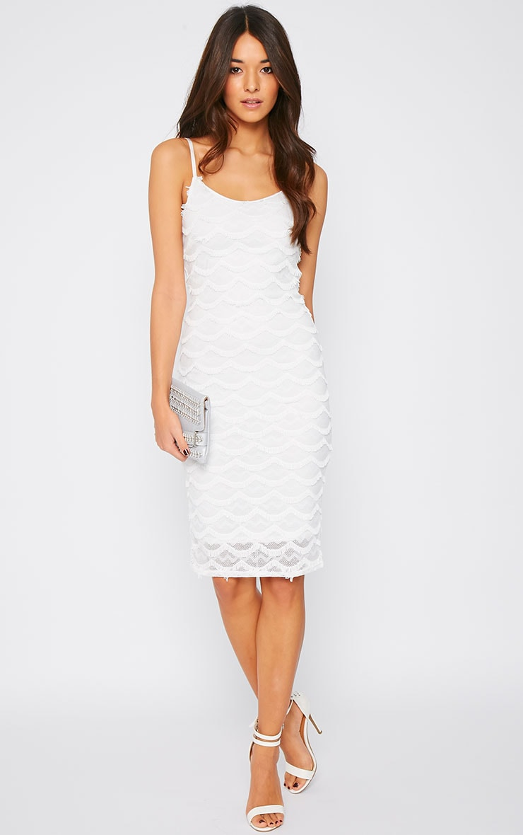 Hailey Cream Eyelash Midi Dress 1