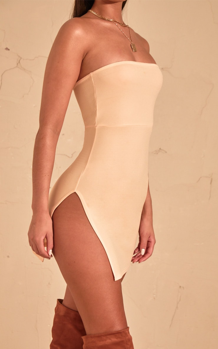 Cream Crepe Split Side Bandeau Bodycon Dress 5