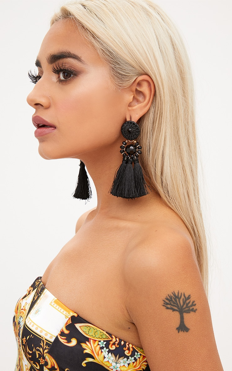 Black Acrylic Bead Tassel Earring 2