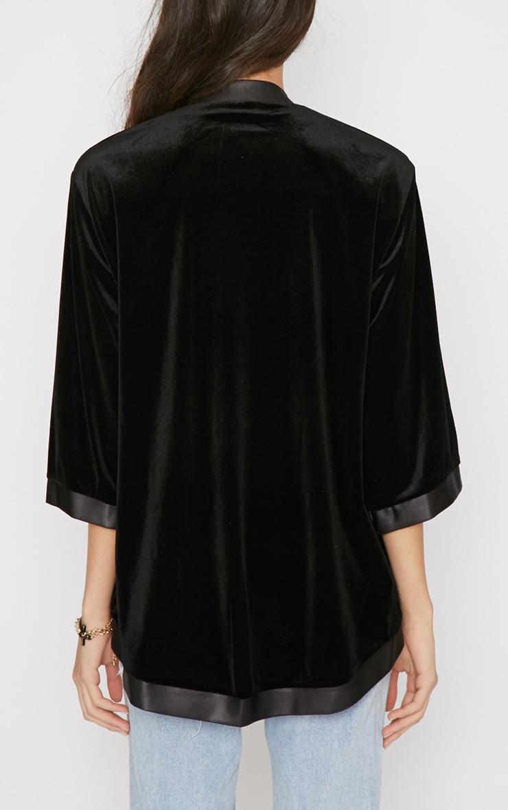 Eliza Black Silk Trim Velvet Kimono Jacket 2