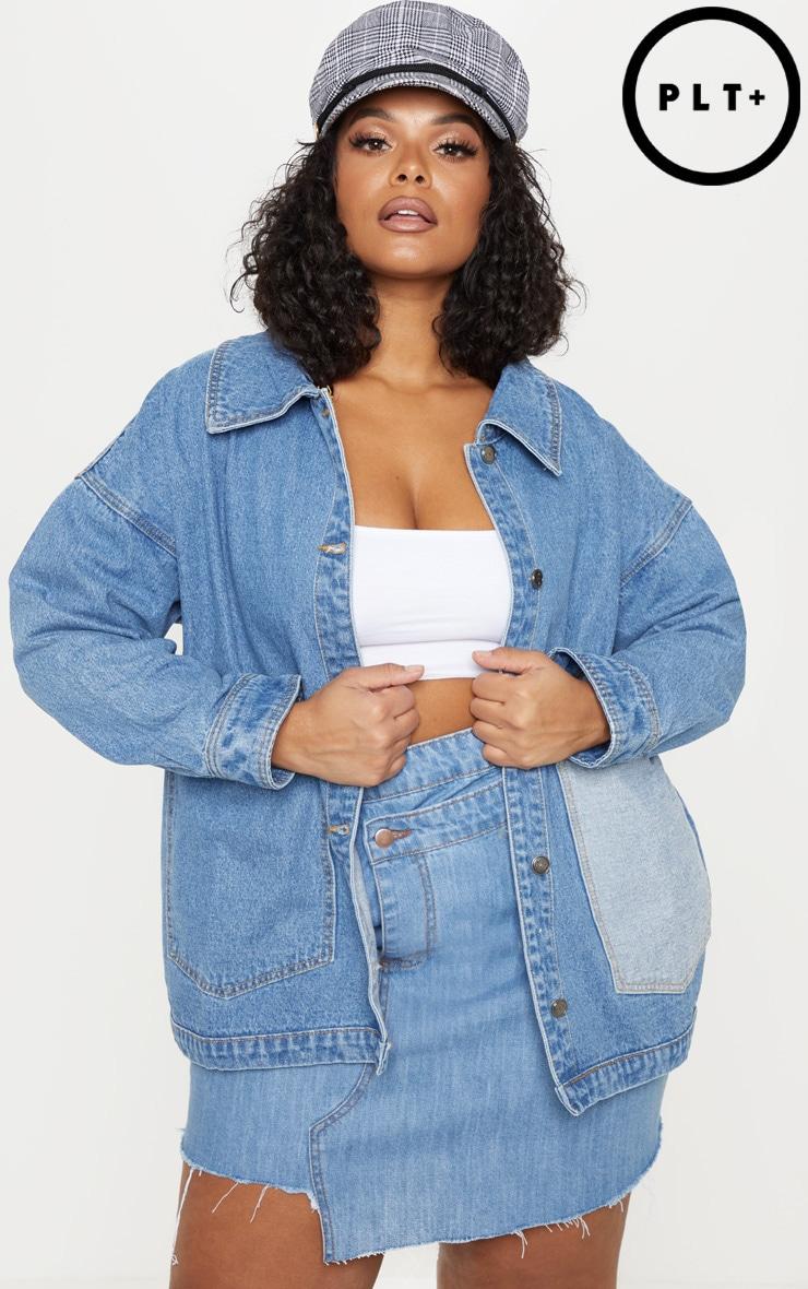 Plus Mid Wash Contrast Pocket Oversized Denim Jacket 1