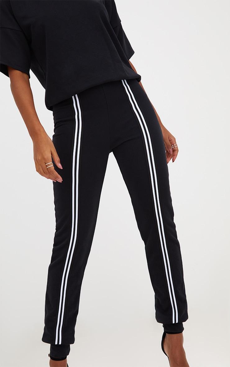 Black Loop Back Sports Stripe Jumpsuit 5