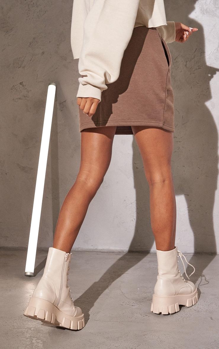 RENEW Chocolate Sweat Drawstring Waist Mini Skirt 3