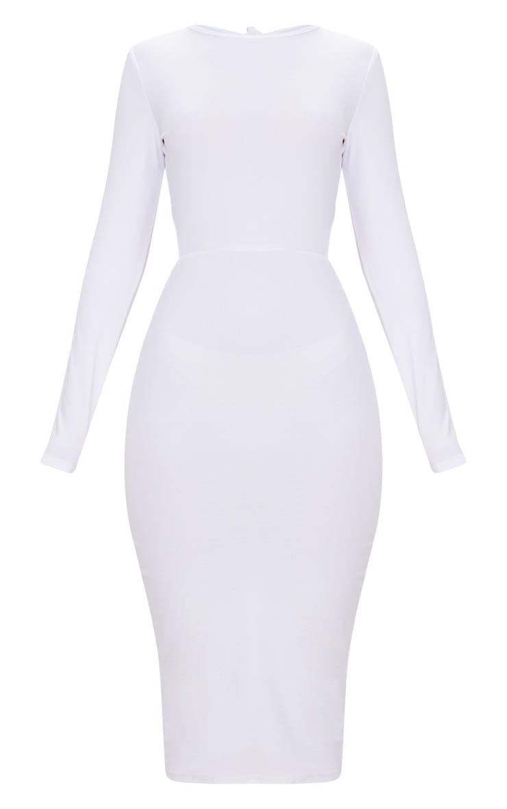 White Backless Bow Detail Midi Dress 3