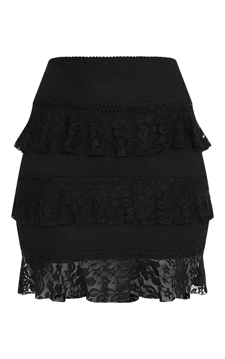 Rosanna Black Tiered Lace Mini Skirt 2